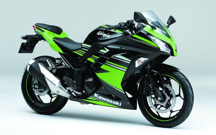 Download wallpapers Kawasaki Ninja 250, 4k, sports bike, superbike, Kawasaki, Japanese motorcycle, green Ninja