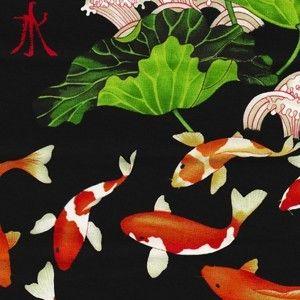 Fat quarter koi lotus asian black pond fish fabric by for Michael koi pond