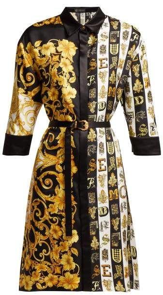 5cfc2259d72 Versace Baroque Print Silk Twill Shirtdress - Womens - Gold Multi ...