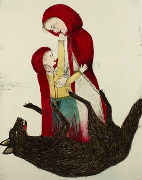 Kiki Smith. Little Red Riding Hood (strictly speaking, I don't think this a children's illustration but it's a fairy tale subject so I included it).