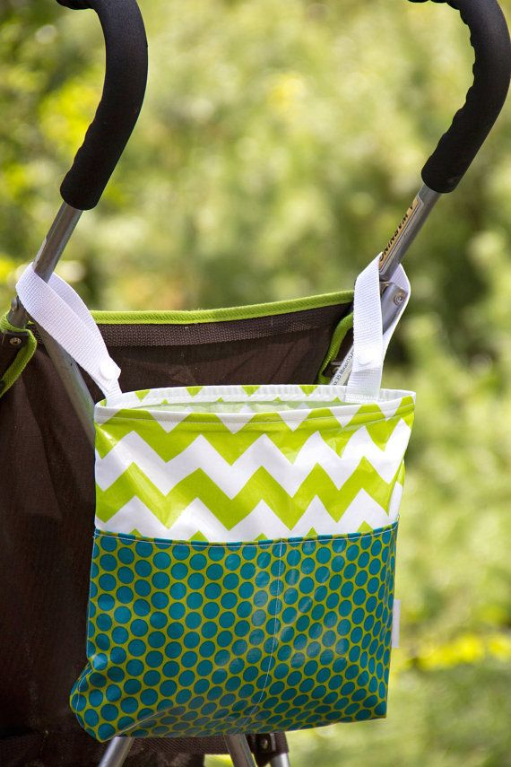 Stroller pram bag walker bag lime green by compelledtocraft