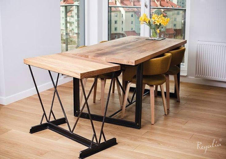 """Oryginalny stół industrialny dębowy """"na torach"""" z dostawką #regaliapolskamanufaktura #staredrewno #stol #stoldrewniany #stolzdostawka #meble #mebledrewniane #meblenawymiar #drewno #wooden #woodworking #woodworker"""