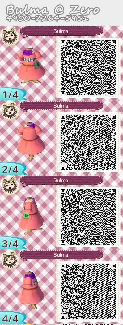 AC: NL QR code for Bulma's dress that I made from the anime Dragonball #animalcrossing #acnl #newleaf #dragonball - Visit now for 3D Dragon Ball Z compression shirts now on sale! #dragonball #dbz #dragonballsuper