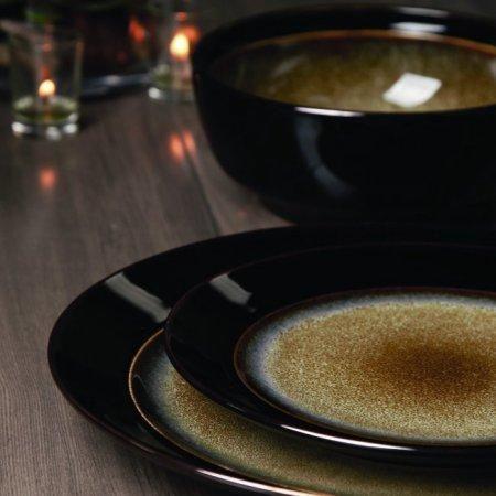 """""""Bella Vista Taupe"""" Western 16-Piece Stoneware Dinnerware Set"""