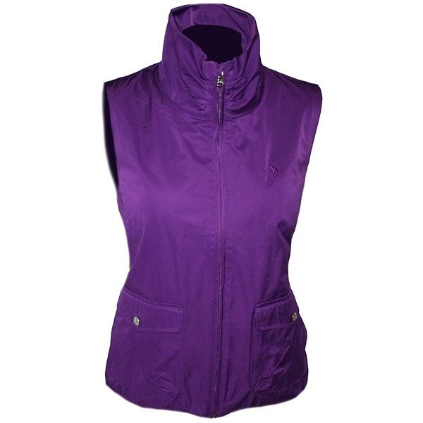Polo Ralph Lauren Women's Lightweight Stand Collar Outerwear Vest... ($75) ❤ liked on Polyvore featuring outerwear, vests, lightweight vest, purple waistcoat, polo vest, purple vest and vest waistcoat