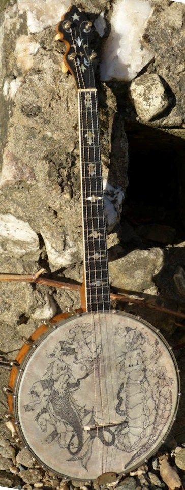Decorated Vega Tenor Banjo --- https://www.pinterest.com/lardyfatboy/