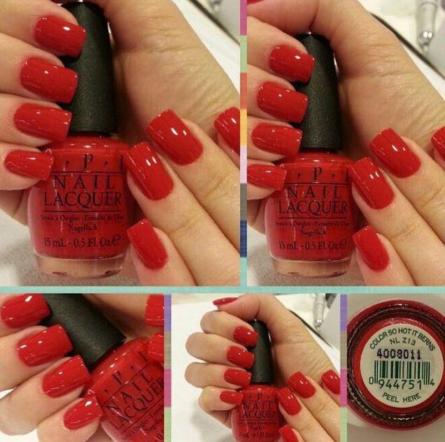 O vermelho puro, cor So Hot It Berns, da OPI, é a cara dos dias frios, não?
