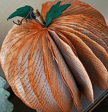 Recycle Books Into Halloween Pumpkins.   Visit us at www.novaksanitary.com for information about recycling in the Sioux Falls area.
