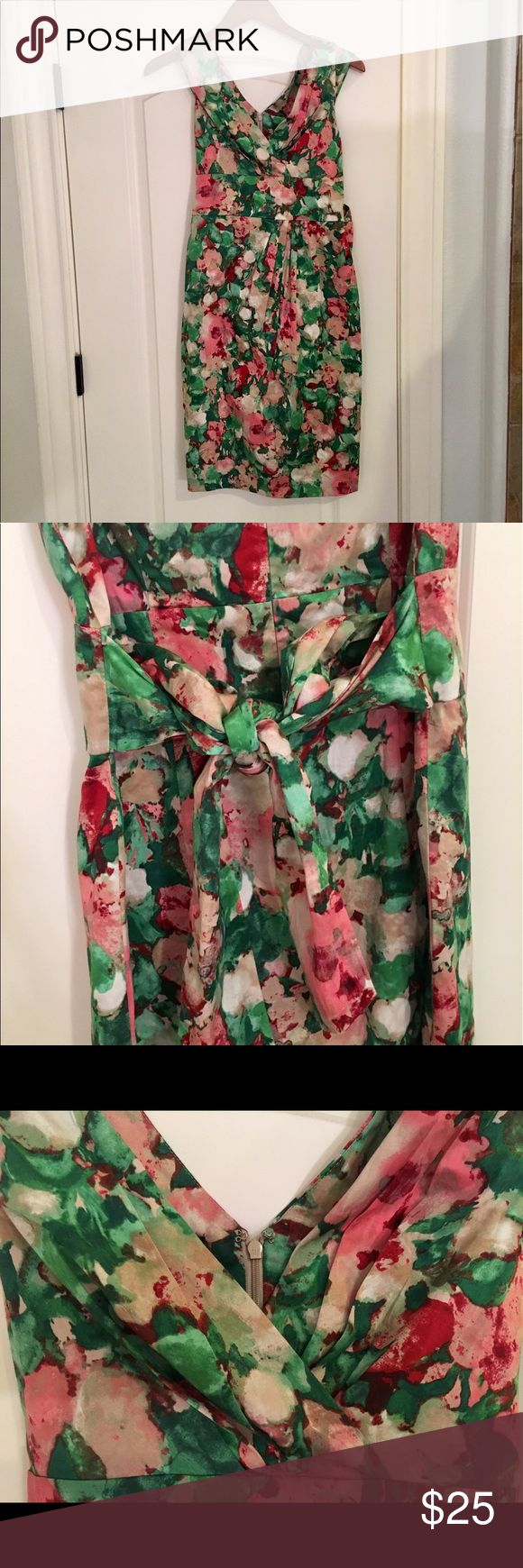 Talbots dress size 2 Gorgeous dress from Talbots, perfect for a summer garden party or the next Kentucky Derby! Ribbon ties into a bow in the back for extra cuteness. Only worn once, non smoking home. Excellent condition. Thank you! Talbots Dresses Midi