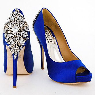 Badgley Mischka Wedding Shoes. It all started with Carrie. Fabulous bright blue wedding shoes. Kiara bridal shoes crystal ornament at heel.
