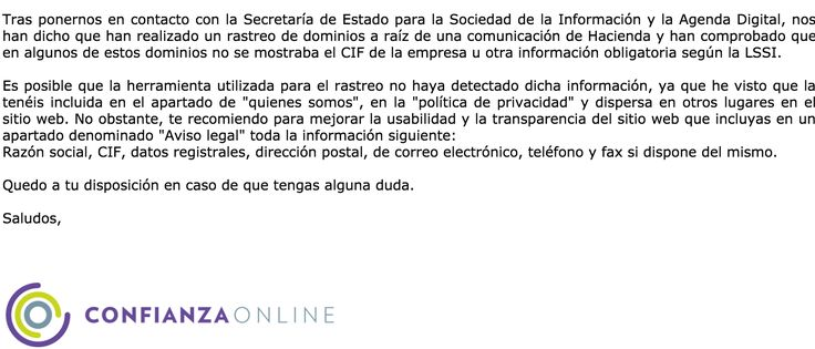 Posible incumplimiento de la Ley 34/2002, de 11 de julio: el email recibido del Ministerio sobre la LSSI | Fabia.es