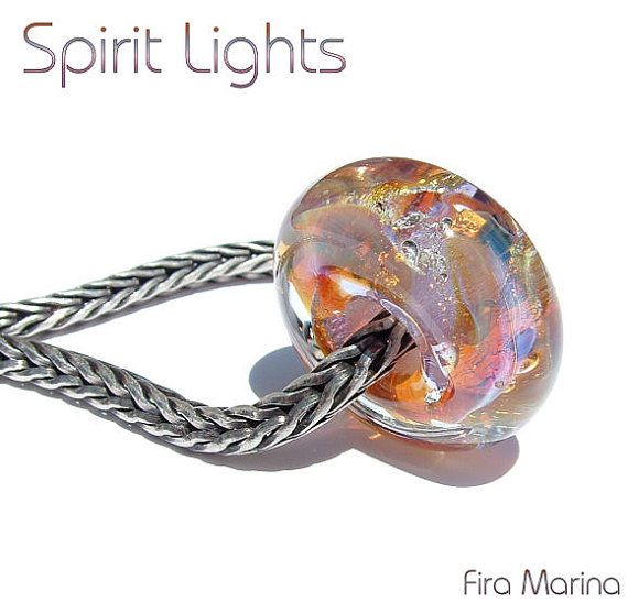 SPIRIT LIGHTS Glass Lampwork Bead Charm Fits trollbeads by firamarina, $24.00 ~ Ghostly, opal - like colors of pink, purple and peach with fine silver from a rare glass.
