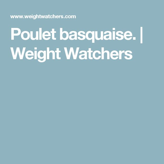 Poulet basquaise. | Weight Watchers