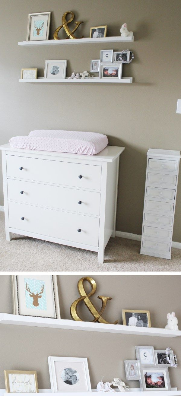 Neutral nursery with pops of color, ikea furniture, etsy quilt ...