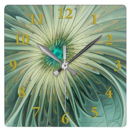 Modern Abstract Fantasy Flower Turquoise Wheat Square Wall Clock - modern gifts cyo gift ideas personalize