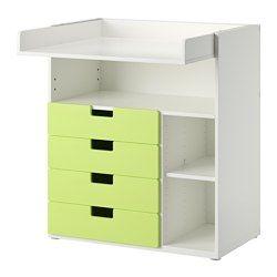 IKEA - STUVA, Cambiador+4cj, blanco/rosa, , Práctico almacenaje de fácil acceso, que te permite mantener siempre una mano sobre tu bebé.Como las baldas pequeñas se pueden poner a diferentes alturas, podrás adaptar el espacio a tus necesidades.