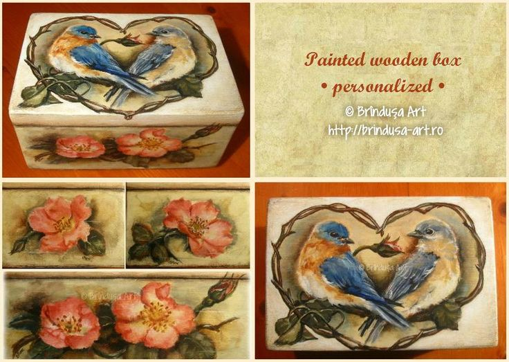 A special gift for 2 young people getting married: a personalized painted box. Acrylics on wood. One of a kind. Un cadou special pt. 2 tineri care se căsătoresc: o cutie pictată personalizată. Culori acrilice pe lemn. Unicat. #woodpainting #picturapelemn #box #cutie #gift #weddinggift #cadou #cadoununta #birds #bluebirds #flowers #flori #love #romantic #wedding #vintage #acrylics #acrilice #oneofakind #unicat #handmade #commissionedart #personalized #personalizare #BrindusaArt