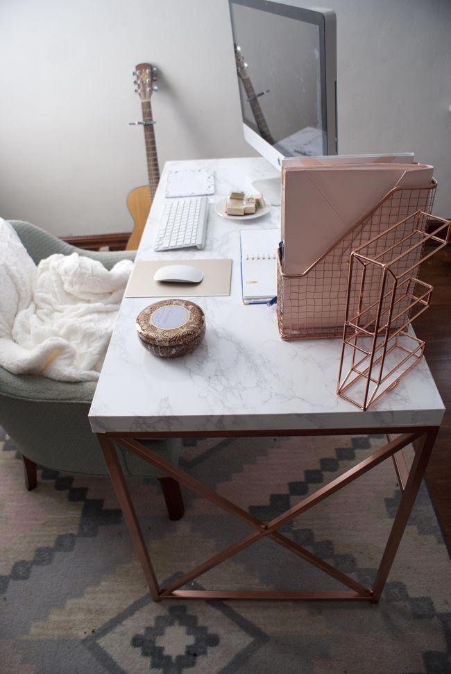 Marble Bedroom: DIY Rose Gold And Marble Desk #officedeskDecoration