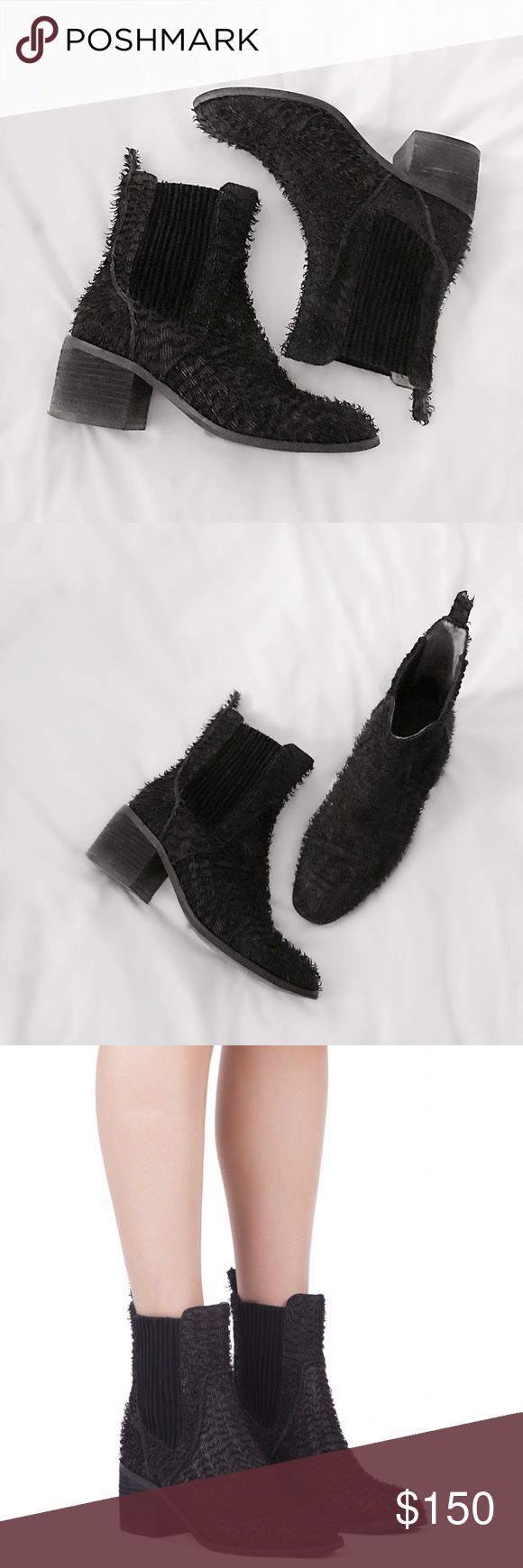 """JC Fuzzy Chelsea Leather Boot Black leather chelsea boot by Jeffrey Campbell with an amazing fuzzy textured leather exterior. Matte black leather, leather lining and synthetic sole. Low 1.5"""" block heel for comfort, padded insole. Worn just a few times and in great condition with minimal wear. Size 8, fits true to size. Retail $220 at Nasty Gal. Nasty Gal Shoes Ankle Boots & Booties"""