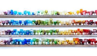 rainbow of vintage glassware
