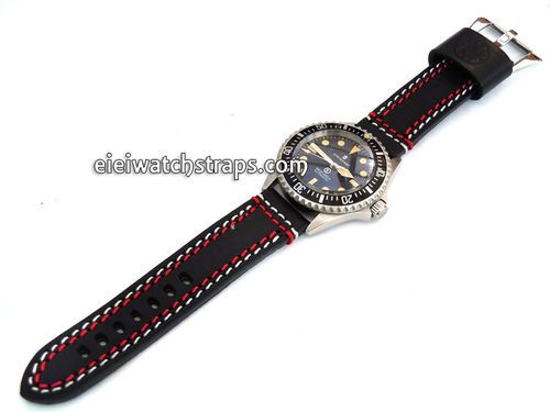 22mm Black Leather watchstrap Double Stitched For Steinhart Ocean Vintage Military