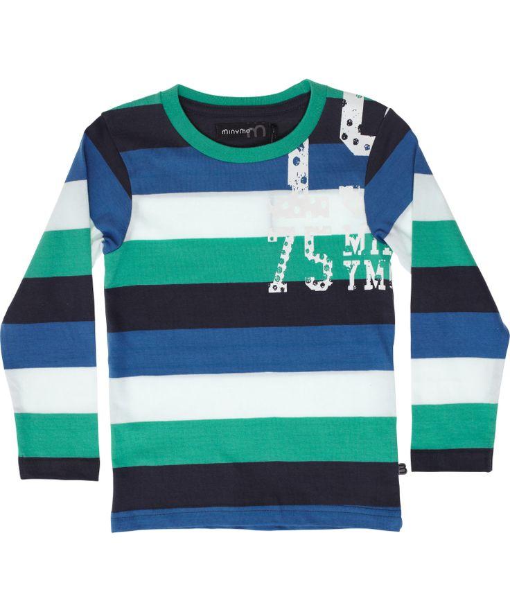 Minymo breed gestreepte t-shirt met blauw en muntgroen. minymo.nl.emilea.be