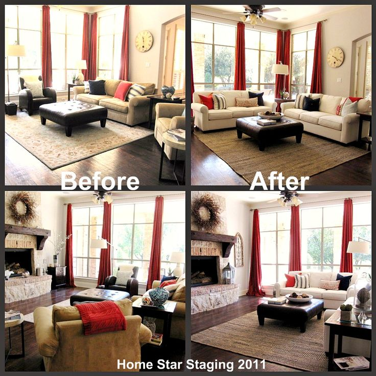 family room staging, family room before and after staging photo collage, home star staging