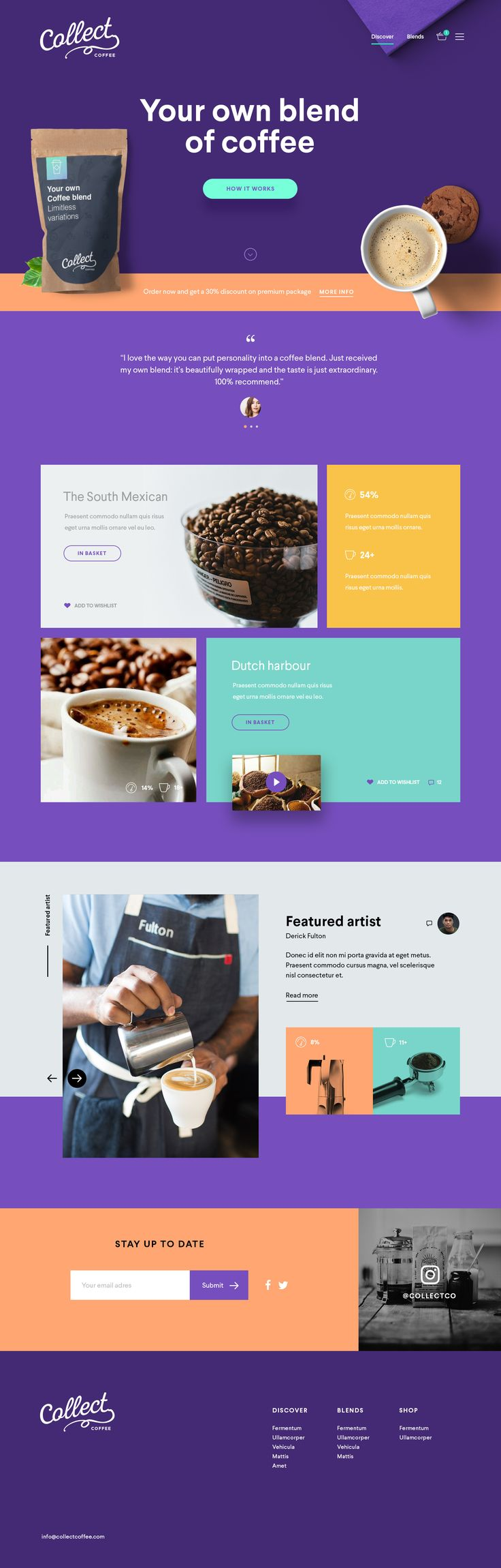 Collect3 - I like the images breaking space, grid layout, sprinkling of round…