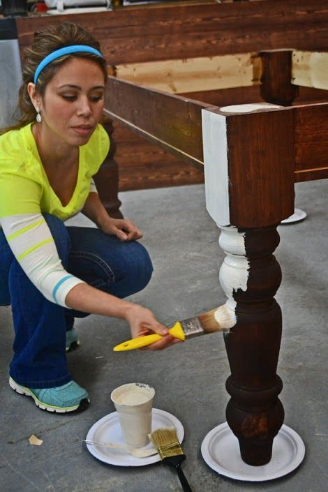 How To Paint Furniture | Old World Chippy Distressed Paint Finish | Ana White - Homemaker