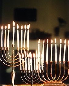 all the candles are lit.  A Menorah is a special nine-branched candelabrum, also known in Hebrew as a Hanukiah.  Each night of Hanukkah, an additional candle is placed in the Menorah from right to left, and then lit from left to right. On the last nig