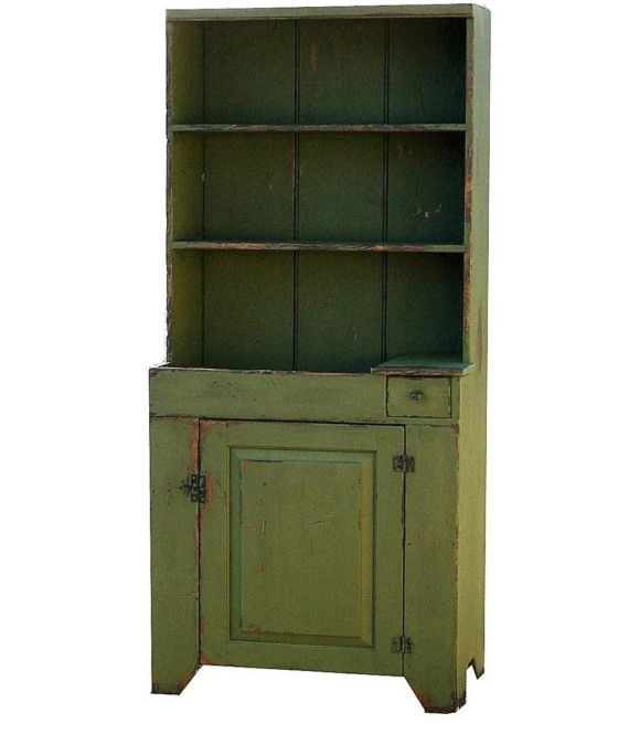 Primitive dry sink stepback cupboard hutch by for Reproduction kitchen cabinets