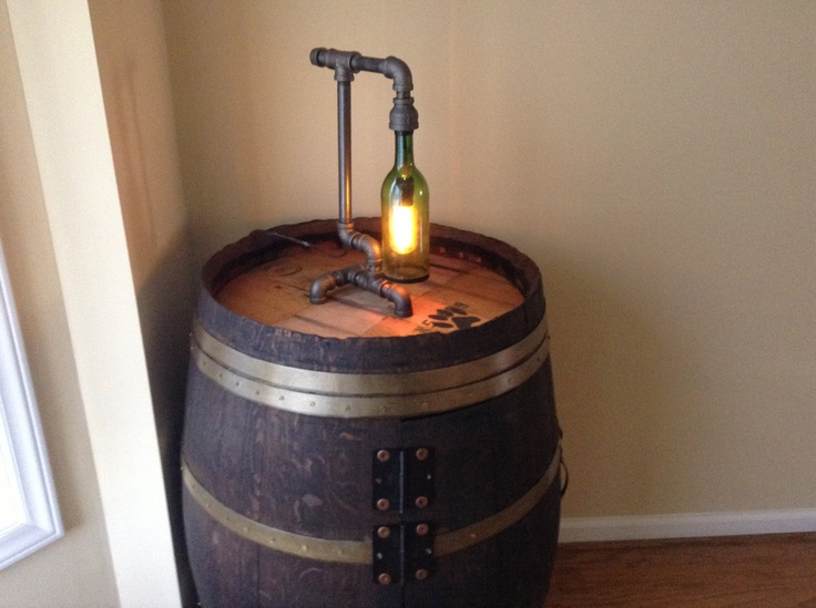 black iron pipe and wine bottle table lamp via etsy pipe. Black Bedroom Furniture Sets. Home Design Ideas