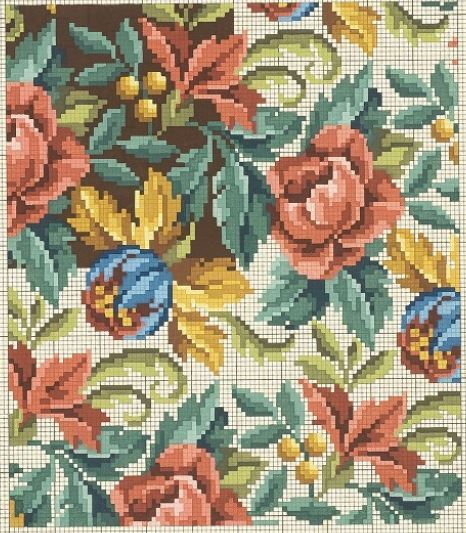 A Pretty Floral Berlin WoolWork All Over Repeating Pattern Possibly Used For Upholstery