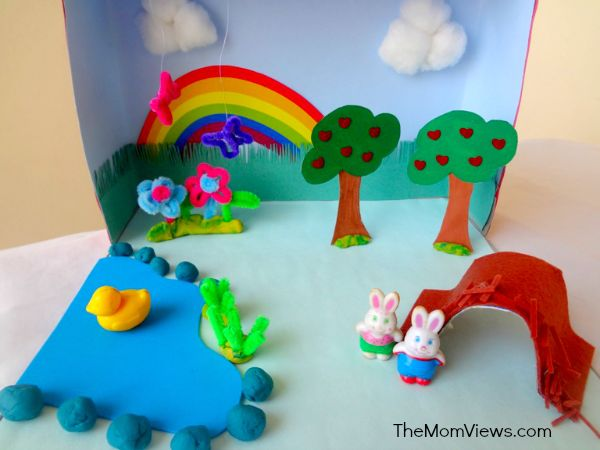 Kitchen Diorama Made Of Cereal Box: DIY Spring Craft- Diorama For Kids I Am Doing It With My