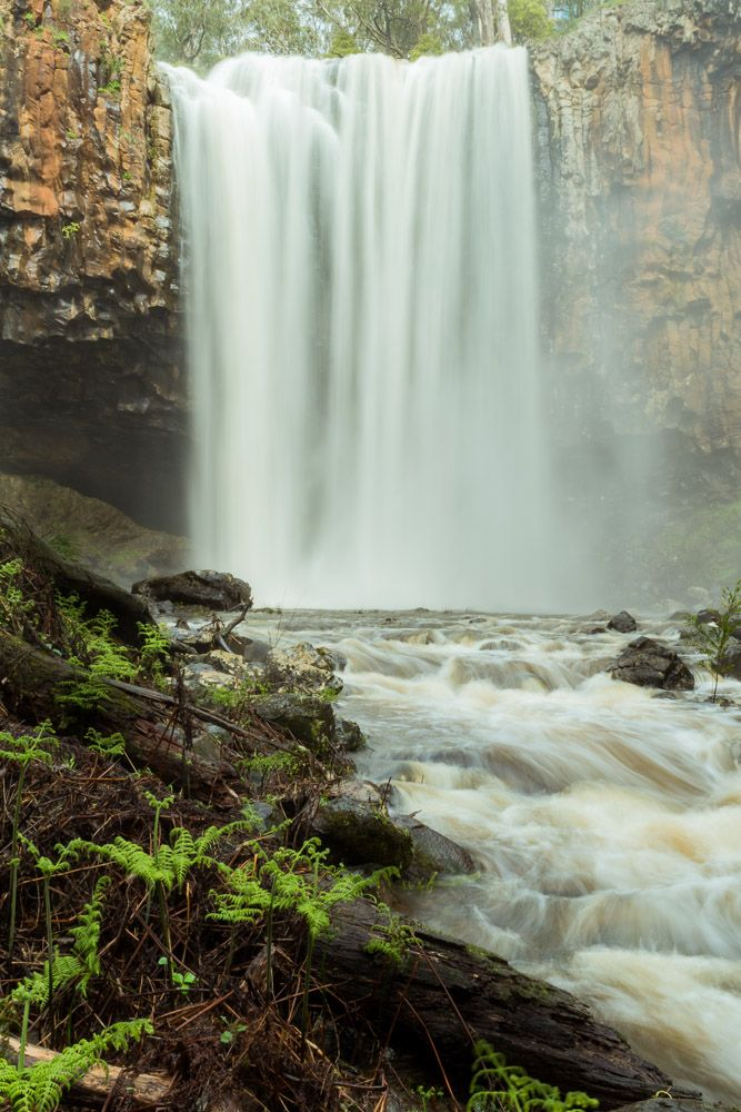 Portrait photo with long expose of Trentham Falls