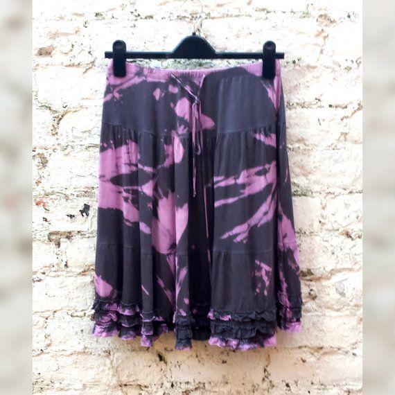 Gypsy Skirt Bohemian Skirt Layered Style Grey & Pink Tie Dye to fit UK Size 8 or US size 4