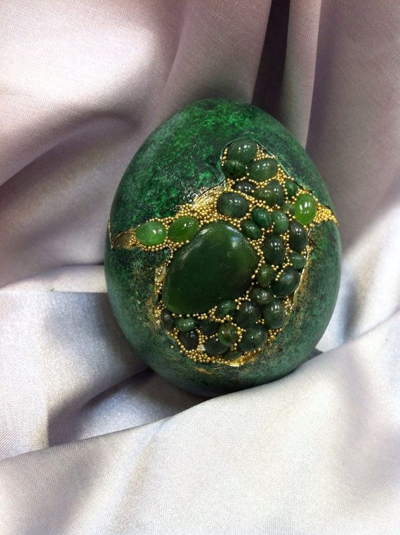 Green Duck Egg set with African Jade by CrystalheartCreation,    my friend Margaret. $75.00.