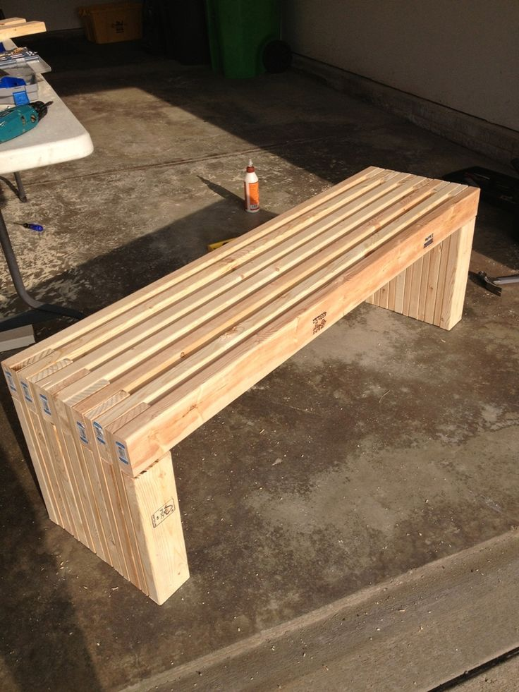 Exterior: Simple Idea Of Long Diy Patio Bench Concept Made Of Wooden  Material In Natural Color With Strong Seat Also Legs For Garden Furniture,  ...