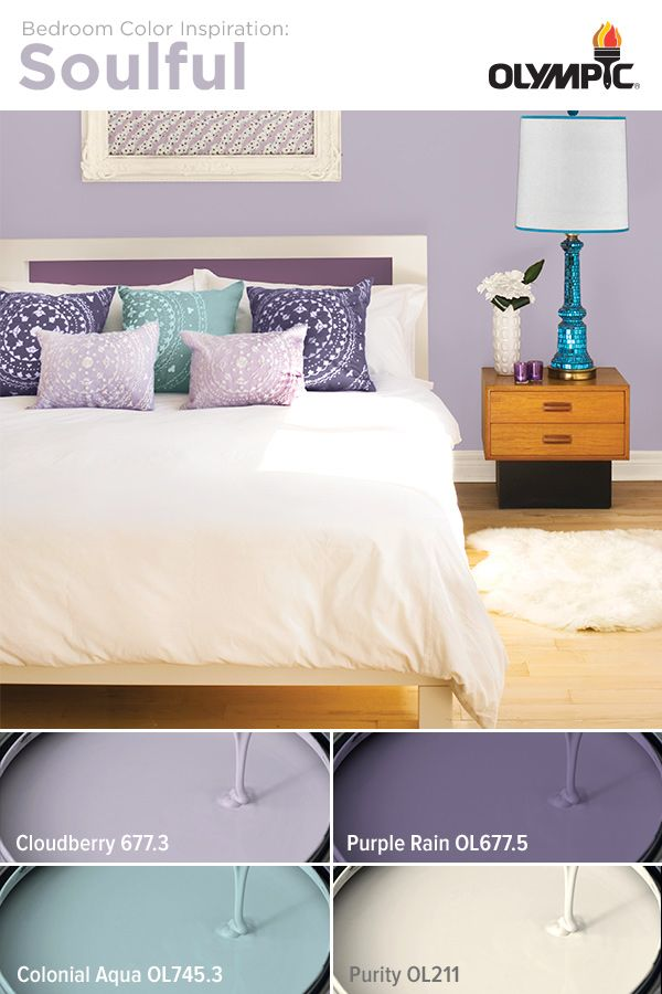 Charming Soulful Bedroom Color Scheme: Mix Layers Of Purple With Notes Of Aqua And  White To