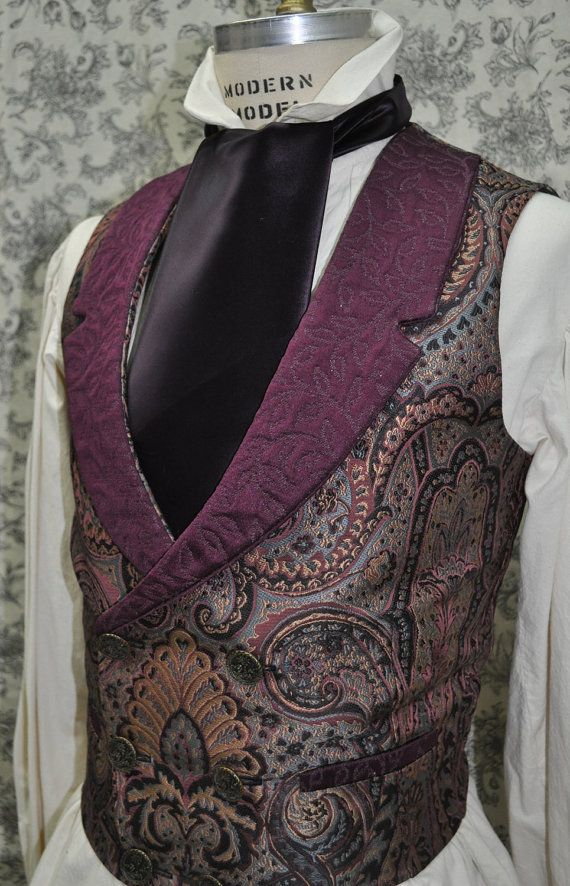 Mens Low Cut Vest-- Victorian--Steampunk---Sherlock Holmes Style---Custom--Made to Order--Made to Personal Measurements