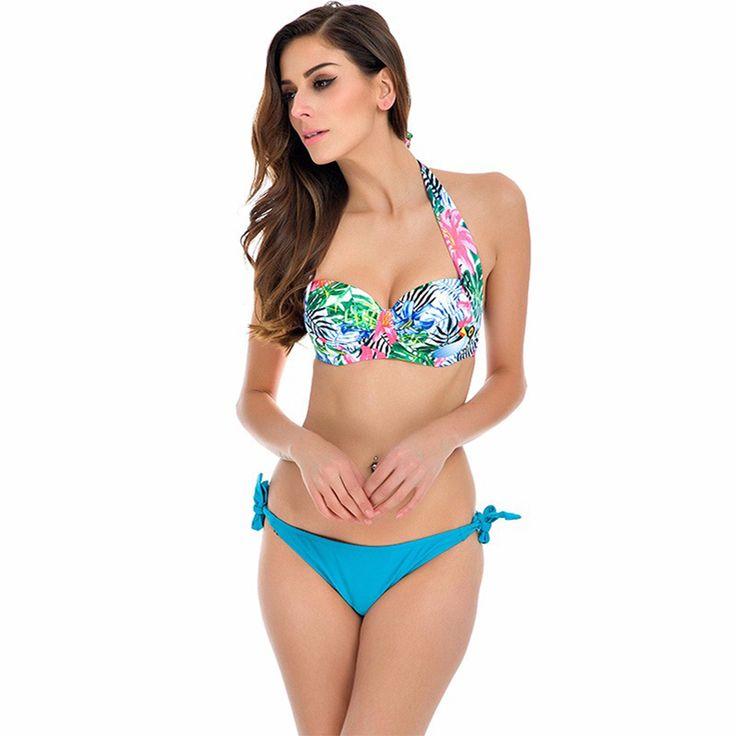 Charlee Cooper Floral Halter Neck Top Side Tie Bikini