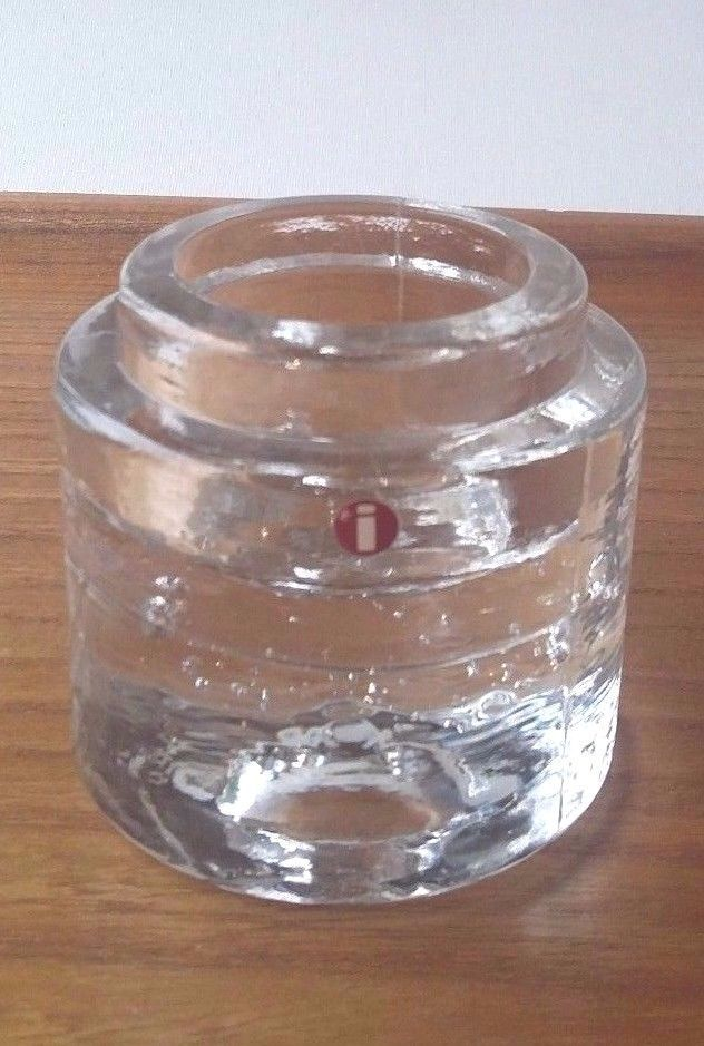 Iittala Finland Vintage Clear Glass Turning Candle Votive   #Iittala