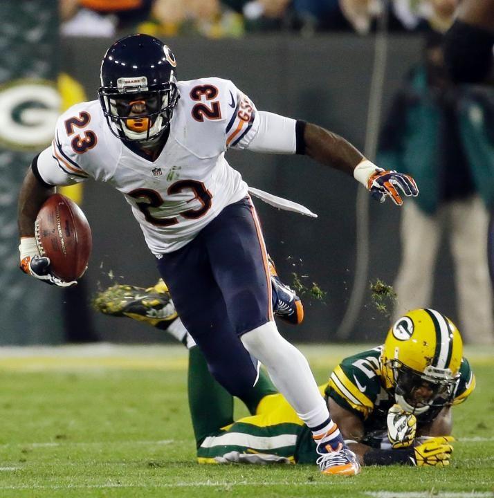 Bears Packers Football Jarrett Bush, Devin Hester