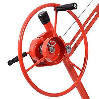 Goplus® 11' Drywall Lift Panel Hoist Dry Wall Jack Lifter Lockable w/Caster Wheel, Red