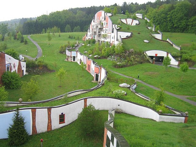 Architect for this housing development is artist Friedensreich Hundertwasser, Austria. #greenroofs #beautifulscenery www.ampleearth.com