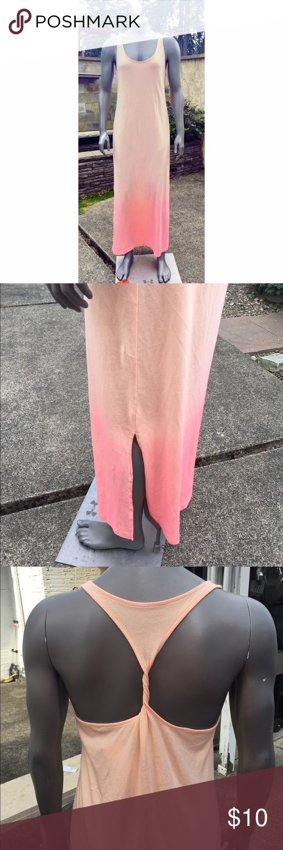 Xhiliration maxi dress. From orange to pink ombré this dress will rock it in the summer making your tan pop and with a twisted back to show off those shoulders. It's light airy with two small slits that reach your calves. Xhilaration Dresses Maxi