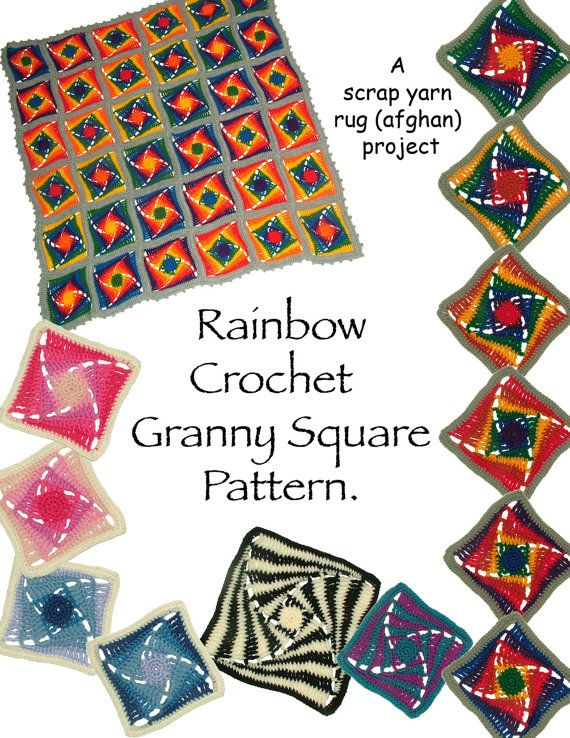 Crochet Pattern Rainbow Granny Square Instant by rensfibreart