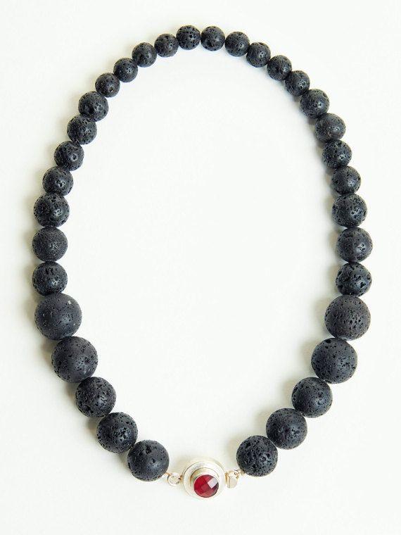 Black Lava Necklace, Rock my Lava Necklace, Black Lava and red Ruby Quartz stones, Chic Necklace, Black Natural Stones, Contemporary Jewelry