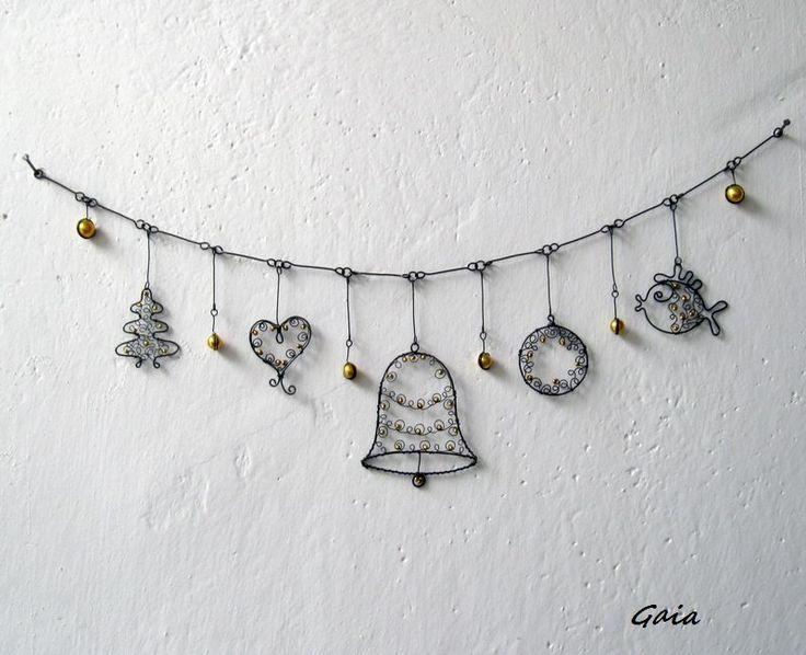 """Girlanda+Vánoční+girlanda+s+""""krajkovými""""+ozdůbkami.+Rozměry:+57+cm+Návrh+a+provedení:+Gaia2014"""