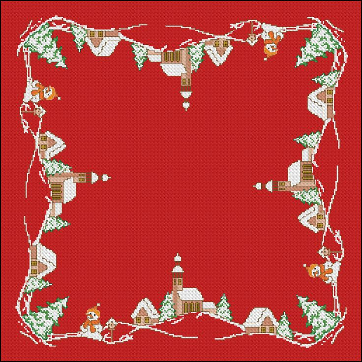 46 best mantel punto de cruz images on pinterest - Manteles de navidad ...